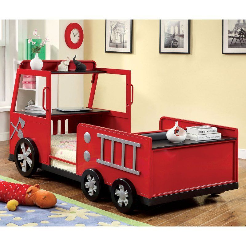 Rescue City Freddy Twin Fire Truck Bed Red Kids Panel Beds at