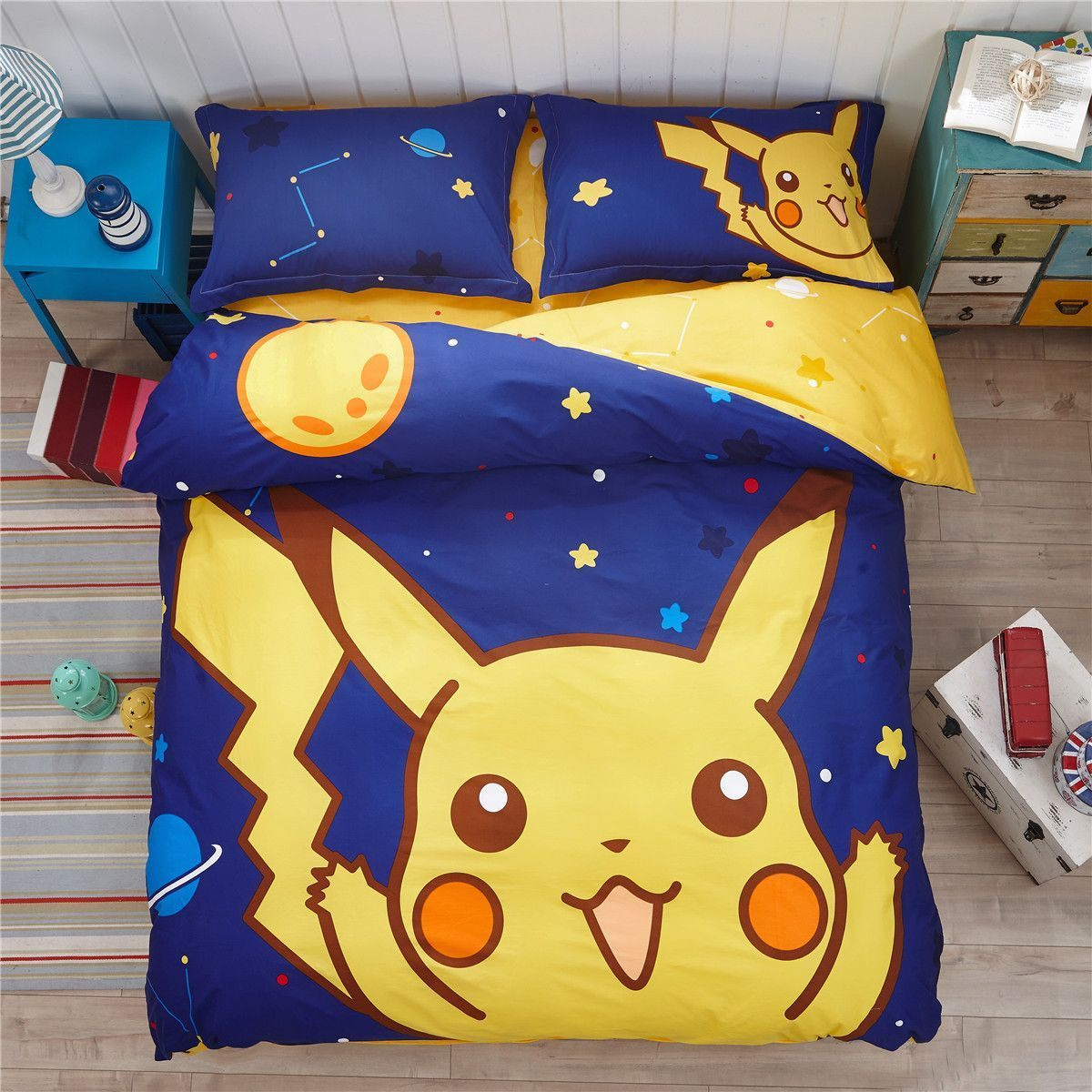 Lit Enfant Complet Joli 3d Bedding Set Pillow Sham Pokemon Cartoon Christmas Gift Kids