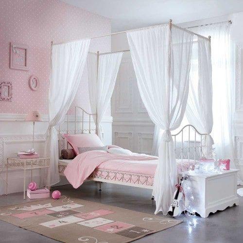 Lit Enfant Fille De Luxe Metal 90 X 190cm Four Poster Bed In Ivory M S Room