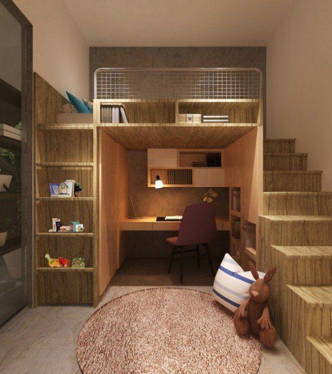 Lit Enfant Mezzanine Avec Bureau Unique Lit Pour Enfant Peu En Brant Mezzanine Surélevé Gigogne