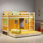 Lit Enfant Minnie Élégant Minnie Solid Pine Natural Bunk Bed With Orange Tent And Trundle
