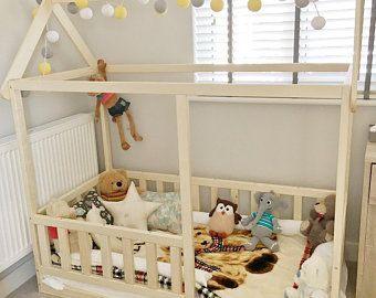 Lit Enfant Montessori Inspiré Painted toddler Bed Children Bed Montessori Bed Kid Bed Wood Bed