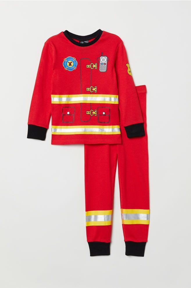 Lit Enfant Pompier Élégant Pyjama En Jersey Rouge Pompier Enfant
