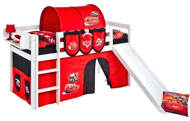 Lit Enfant toboggan Élégant Lit Mezzanine Blanc Avec toboggan Et Rideau Rouge Disney Cars 90—190