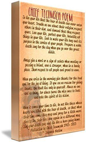 Lit Fille 2 Ans Fraîche Amazon Wall Art Print Entitled Chief Tecumseh Poem Live Your
