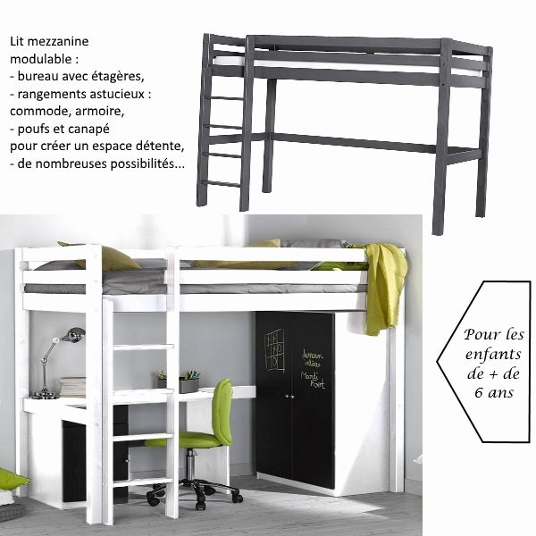 Lit Fille Avec Rangement Douce Lit Mezzanine Bureau Escalier Mezzanine Design Chambre élégant Lit