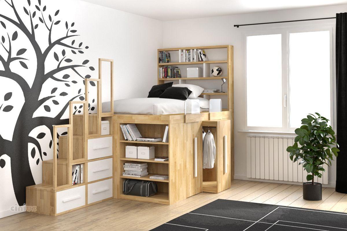 Lit Gain De Place Studio De Luxe Lit Impero Young De Cinius Avec Modules Coulissants Avec Armoires