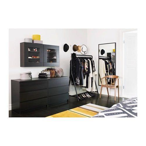 MALM Komoda 3 szuflady czarnobrąz IKEA