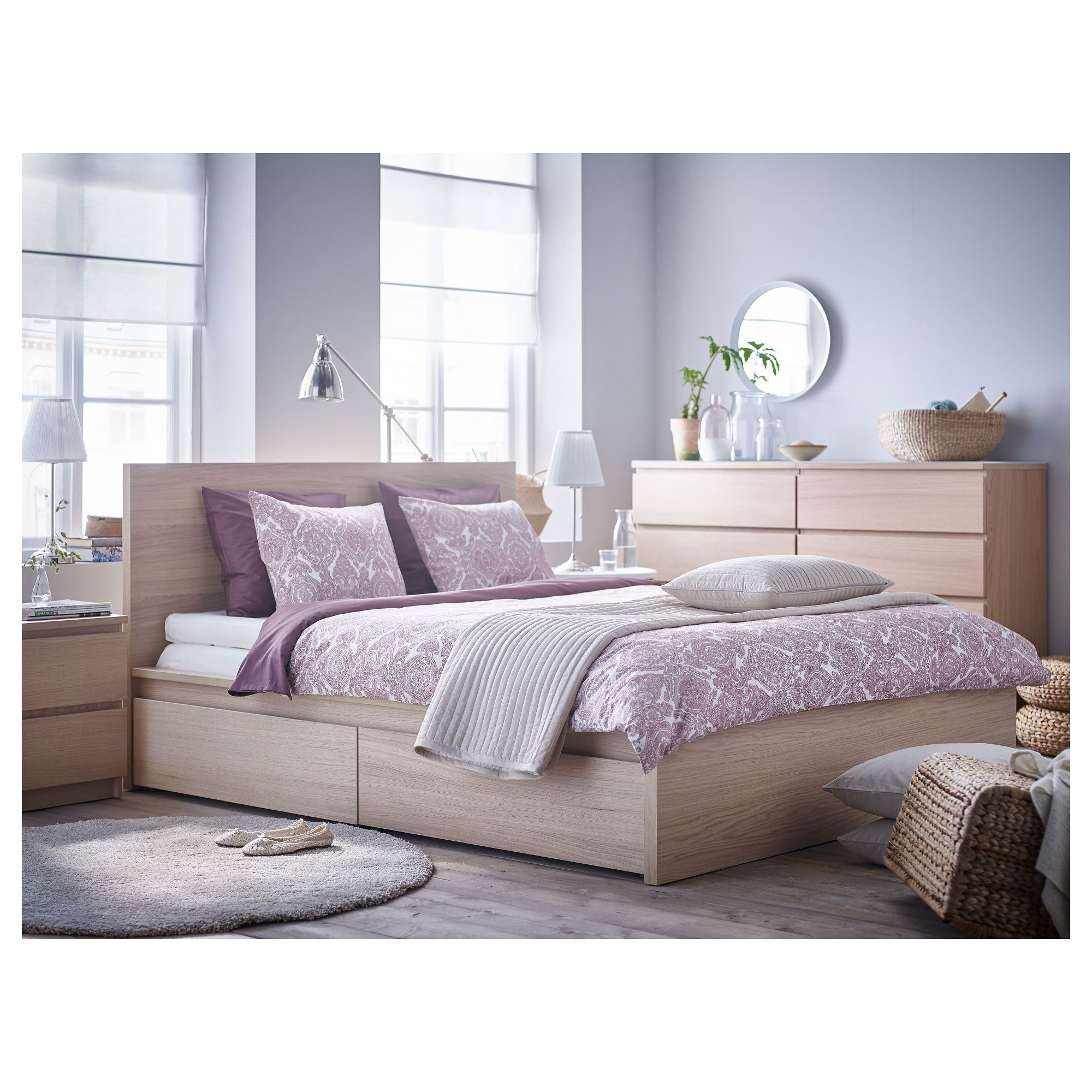 Lit Malm Ikea 90 Frais Malm High Bed Frame 2 Storage Boxes White Stained Oak Veneer Luröy