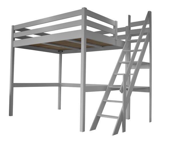 Lit Metal 160×200 Fraîche Lit Mezzanine Adulte Ou Enfant Gris Alu Avec son Escalier De Meunier