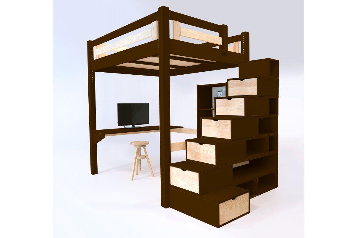 Lit Mezzanine 120×200 Beau Abc Meubles Lit Mezzanine Alpage Bois Escalier Cube Hauteur