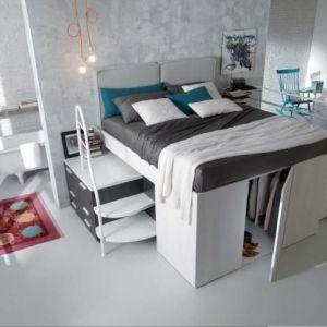 """Lit Mezzanine 2 Places Adultes De Luxe Lit Mezzanine Avec Dressing Garderoba Styl nowoczesny Zdj""""â""""¢cie Od"""