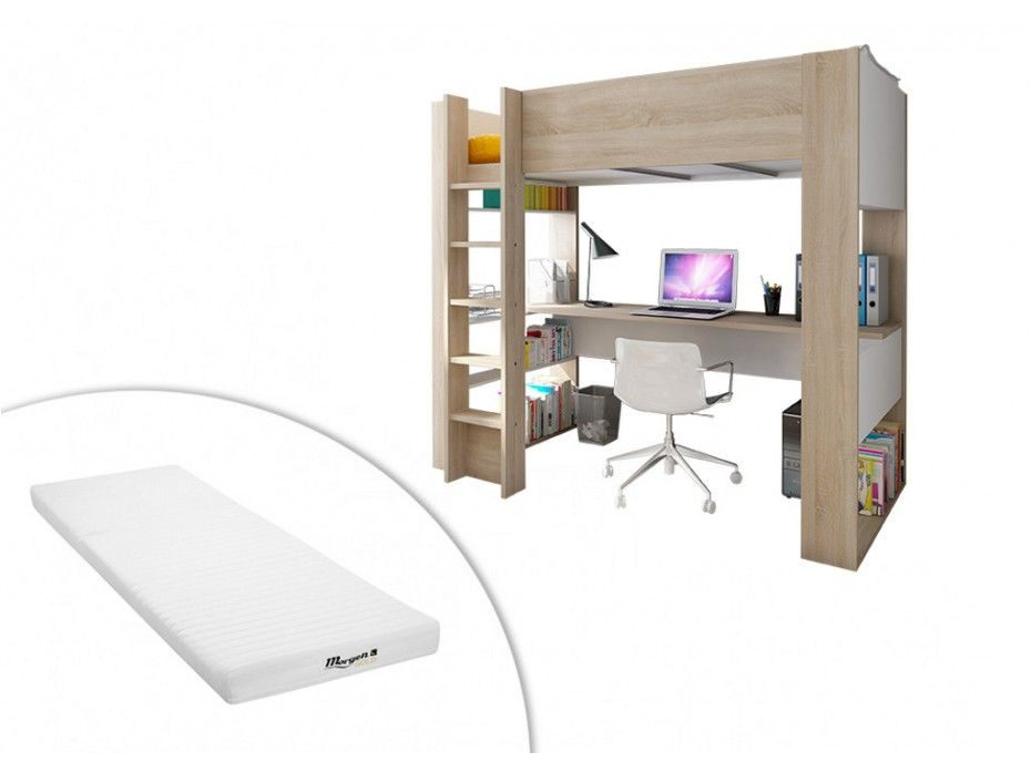 Lit Mezzanine Avec Bureau Et Rangement Nouveau Lit Mezzanine Noah Avec Bureau Et Rangements Intégrés 90x190cm