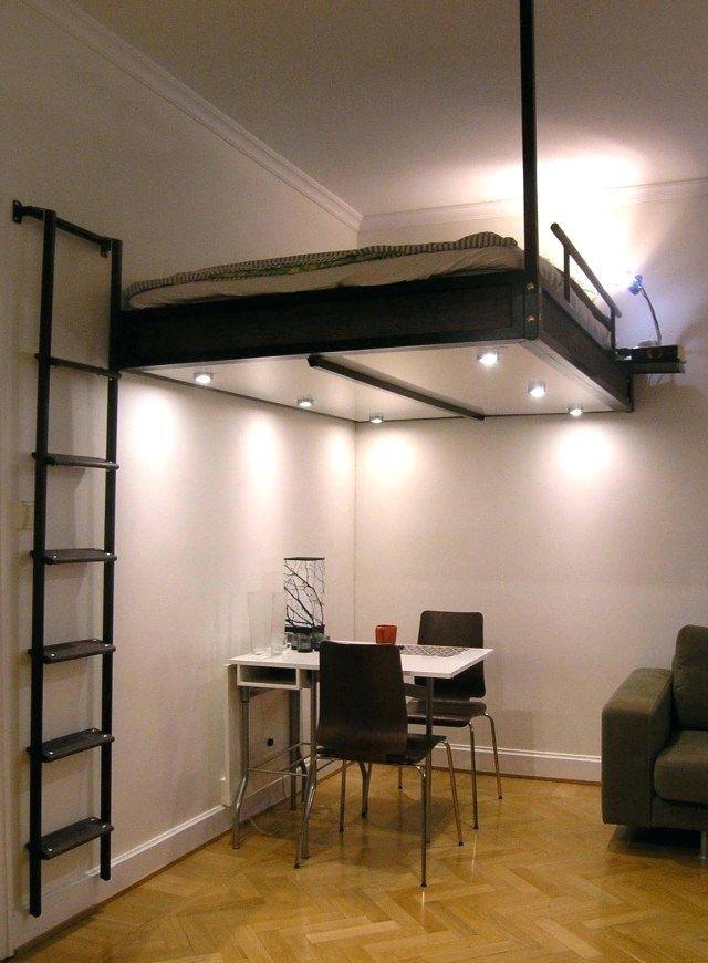Lit Mezzanine Bas Bel Lit Mezzanine Bas Lit Suspendu Au Plafond 2 Personnes Et Bureau En