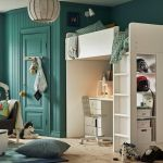 Lit Mezzanine Stuva Beau Children S Bedroom with Turquoise Walls and White Loft Bed with Desk