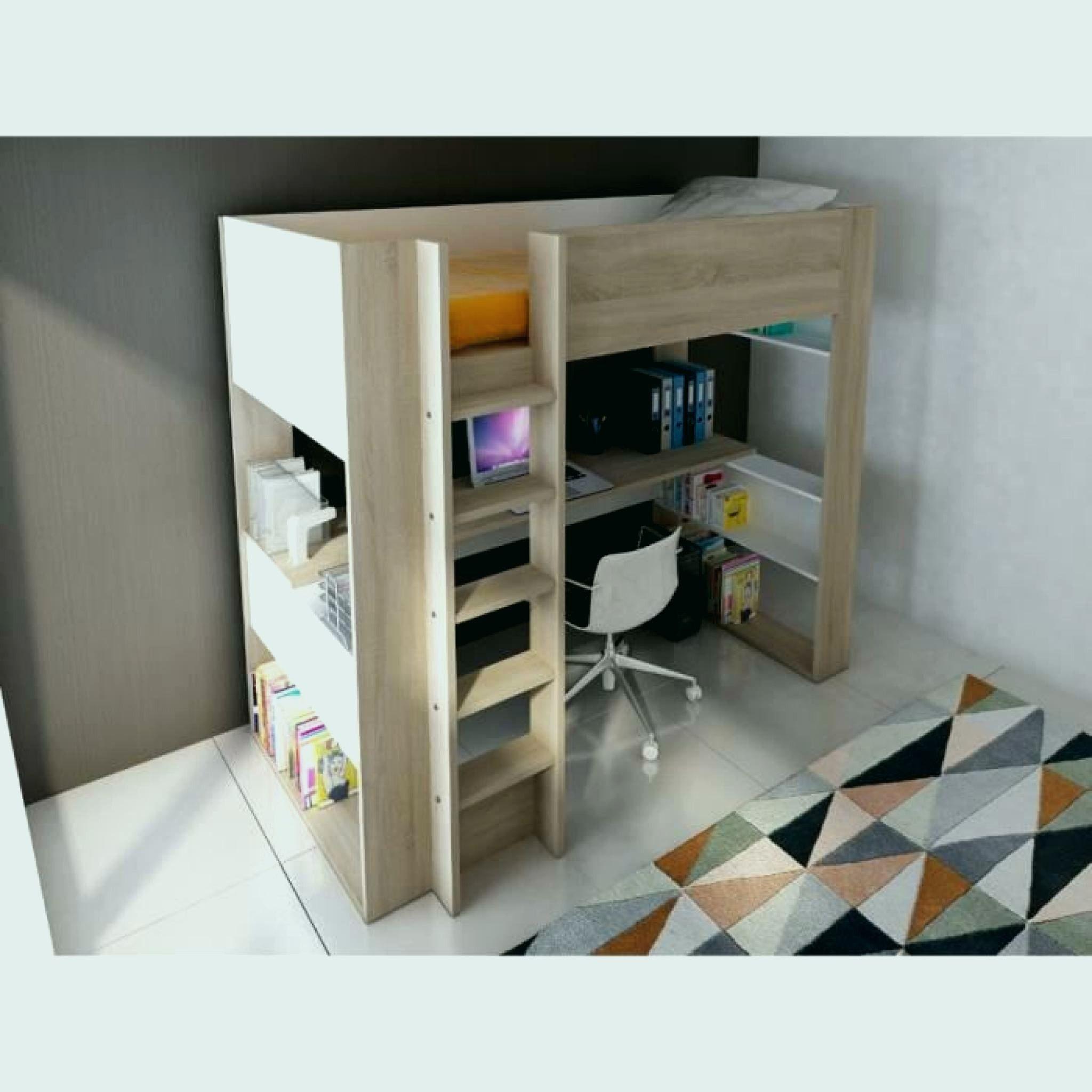 Lit Mi Hauteur Pas Cher Agréable Lit En Hauteur Avec Bureau Unique Lit Mezzanine Biné Blanc 90—200 Cm