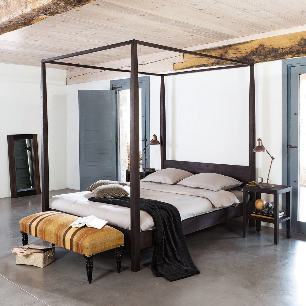 Lit Moderne 160×200 Frais Lit  Baldaquin En Acacia Massif 160×200 Bedroom