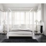 Lit Moderne 160x200 Nouveau Lit  Baldaquin 160x200 En Pin Blanc Cassé Bedroom