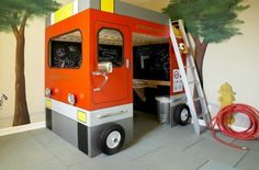Lit Pompier Enfant Beau Fire Station Loft Bed for Kids Site Has Full Tutorial Ana White