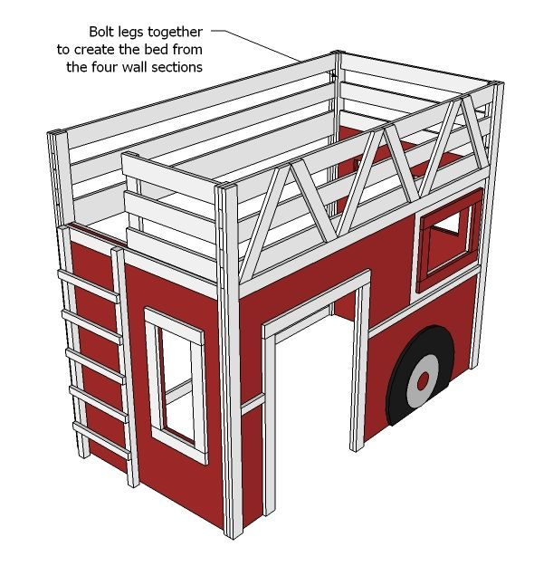 Lit Pompier Enfant De Luxe Ana White Fire Truck Loft Bed Diy Projects Diy