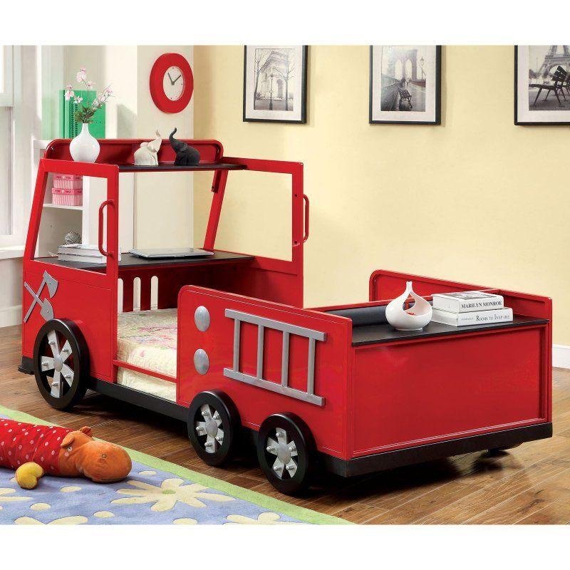 Lit Pompier Enfant Joli Rescue City Freddy Twin Fire Truck Bed Red Kids Panel Beds at