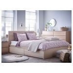 Lit Queen Size Ikea Beau Malm High Bed Frame 2 Storage Boxes White Stained Oak Veneer Luröy
