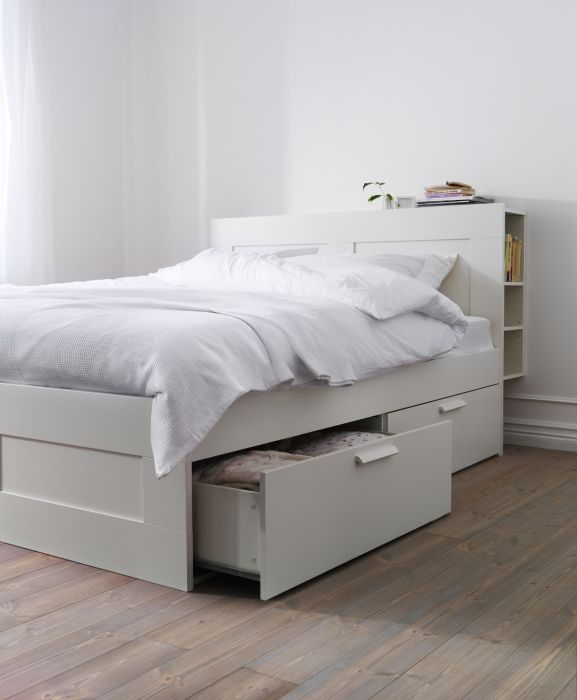 BRIMNES Bed frame with storage white Bedrooms