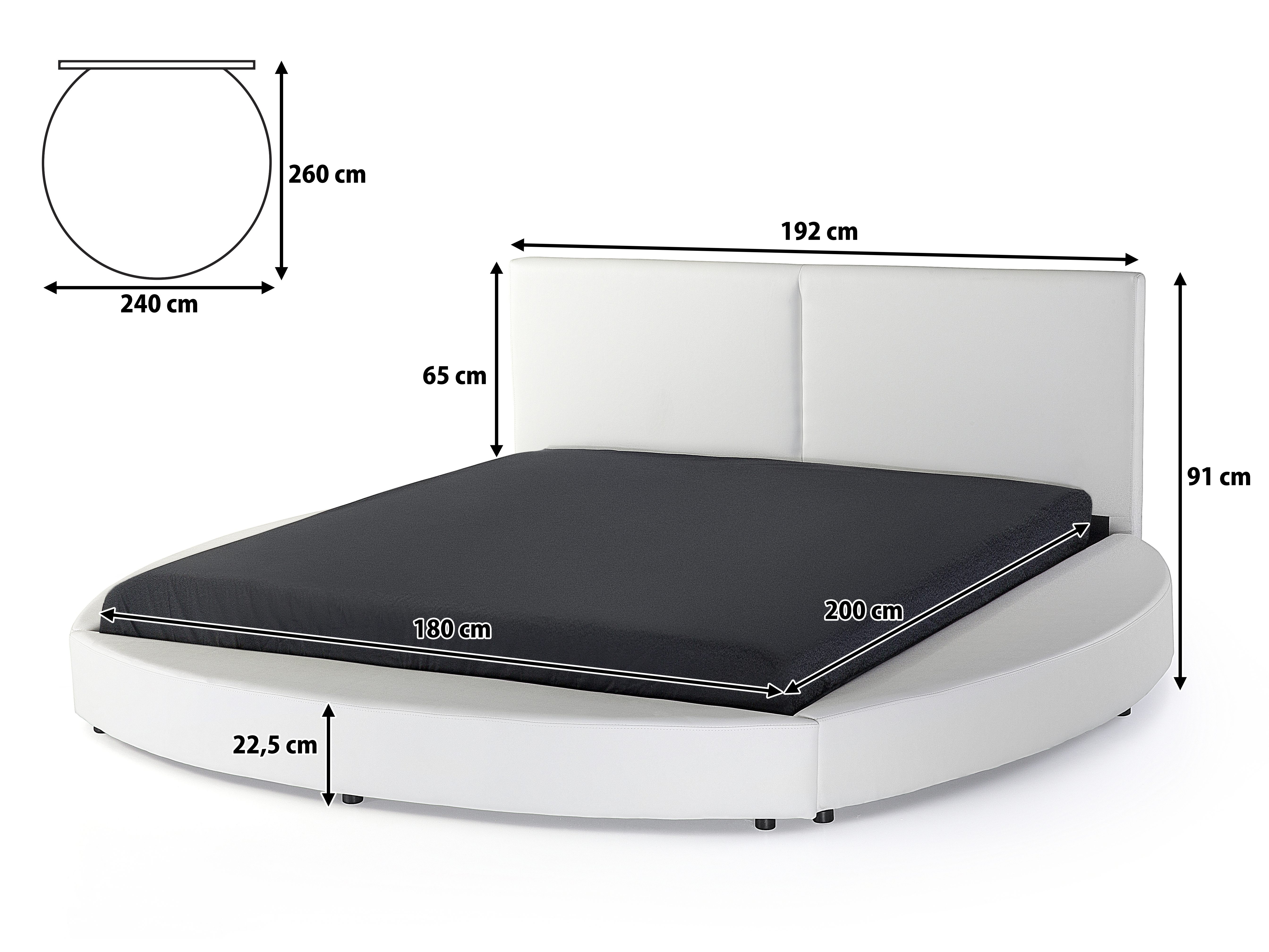 Lit Rond 160×200 Inspirant Leather Super King Bed White Laval