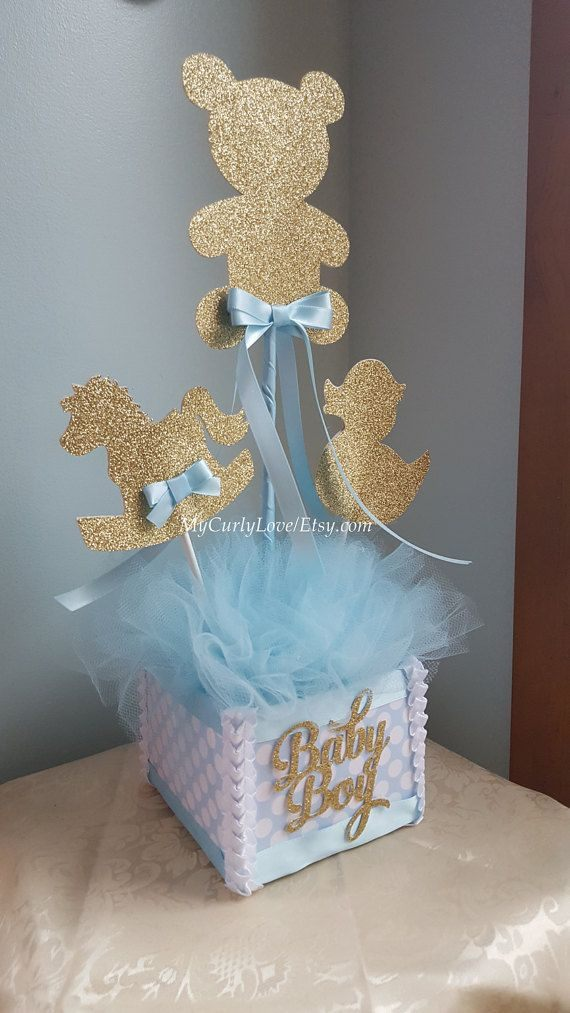 Lit Rond Bebe Belle Boy Baby Shower Centerpiece Gold and Baby Blue Baby Shower