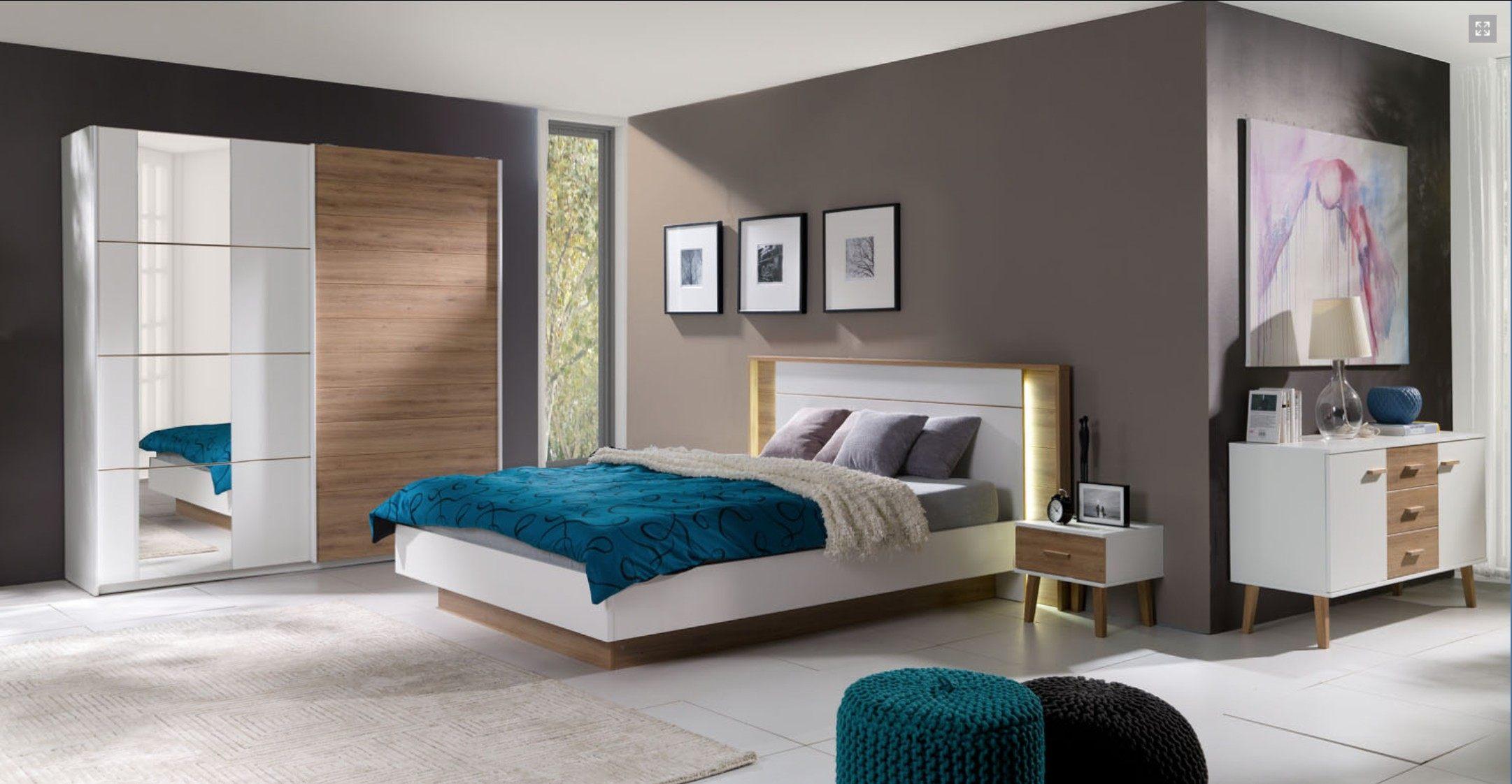 Lit Scandinave 160×200 Inspiré Chambre € Coucher Lit Adulte Design Artur 2 X Chevets Led somm