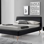 Lit Scandinave 160x200 Inspiré Price Factory Lit Adulte Design Oscar En Tissu Brun 140—200 Cm Pied
