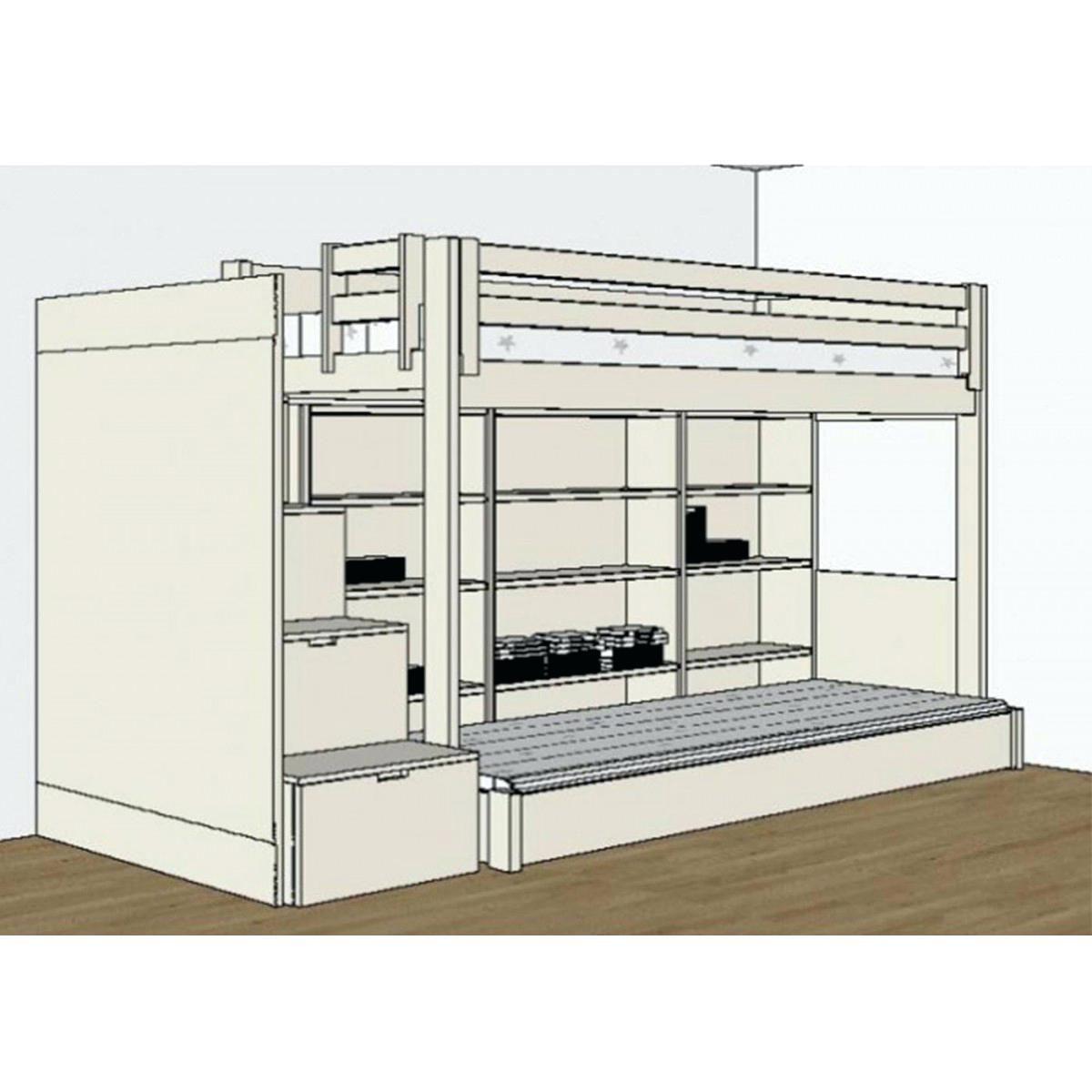 Lit Superposé Avec Bureau Magnifique Lit Mezzanine Avec Clic Clac Ikea