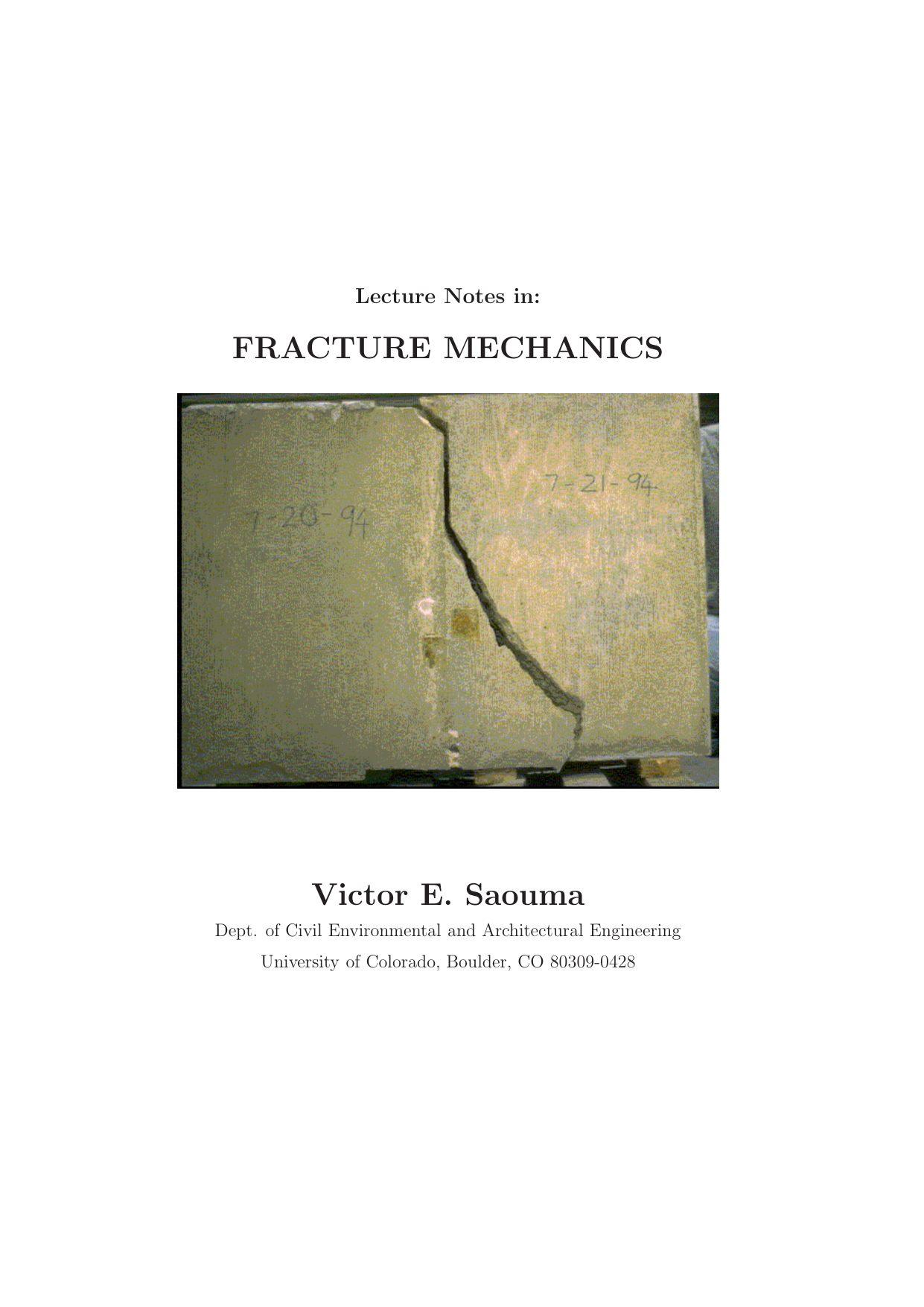 Lits Superposés 3 Places Douce Saouma S E Lecture Notes In Fracture Mechanics Pdf