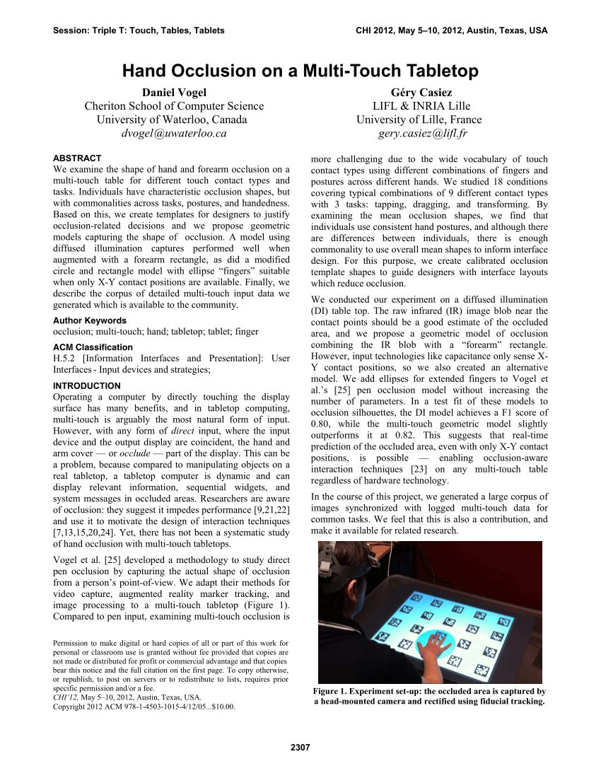 Mobile Musical Lit Bébé Charmant Pdf Hand Occlusion On A Multi touch Tabletop