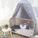 Moustiquaire Lit Enfant Élégant Ronde Bébé Lit Moustiquaire D´me Suspendus Coton Lit  Baldaquin