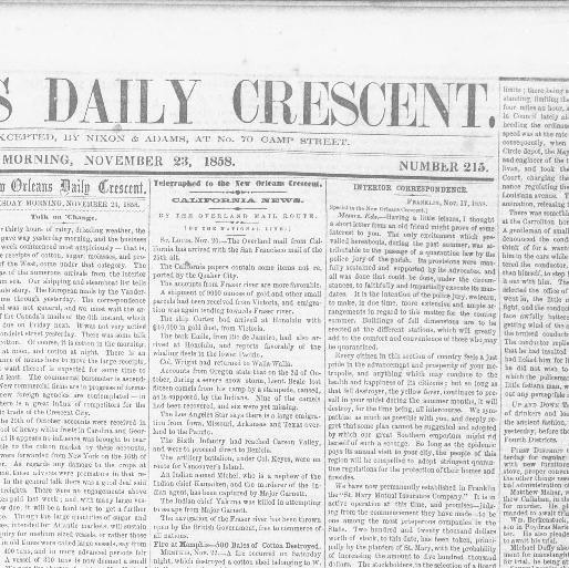 New Lita tours Magnifique New orleans Daily Crescent [new orleans La ] 1851 1866 November