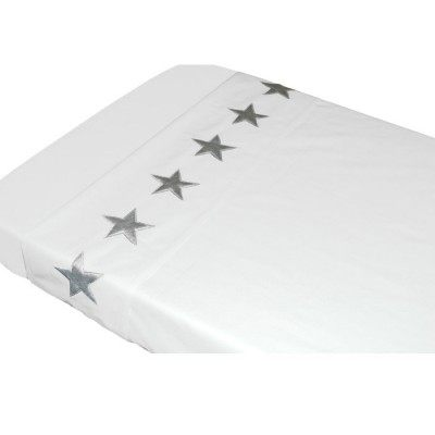 Drap de lit Etoiles blanc 120 x 150 cm Taftan