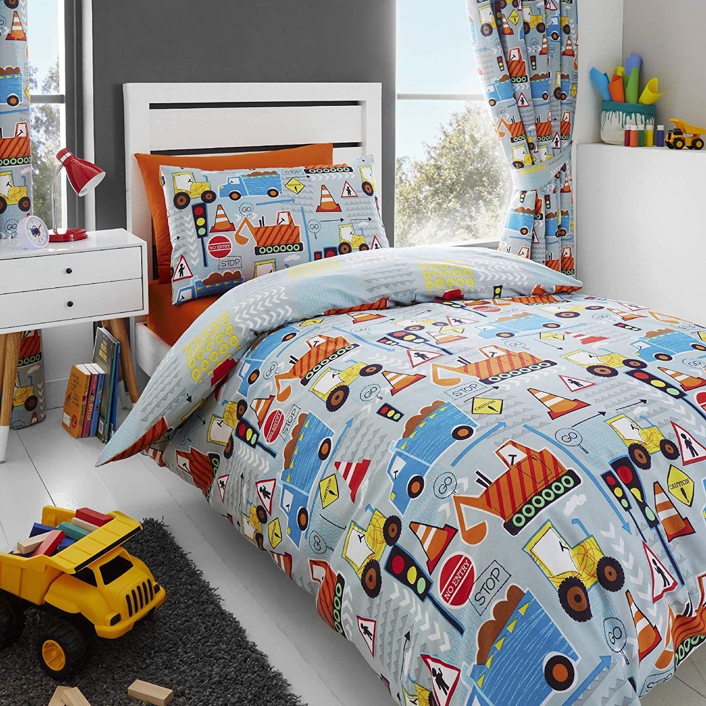 Parure De Lit 120×150 Le Luxe Happy Linen Co Parure De Lit Enfant Motifs Pelleteuses Camions