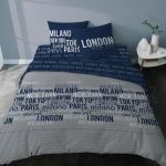Parure De Lit 240x220 Inspirant Parure De Lit London Adulte Coton World City Marine Gris