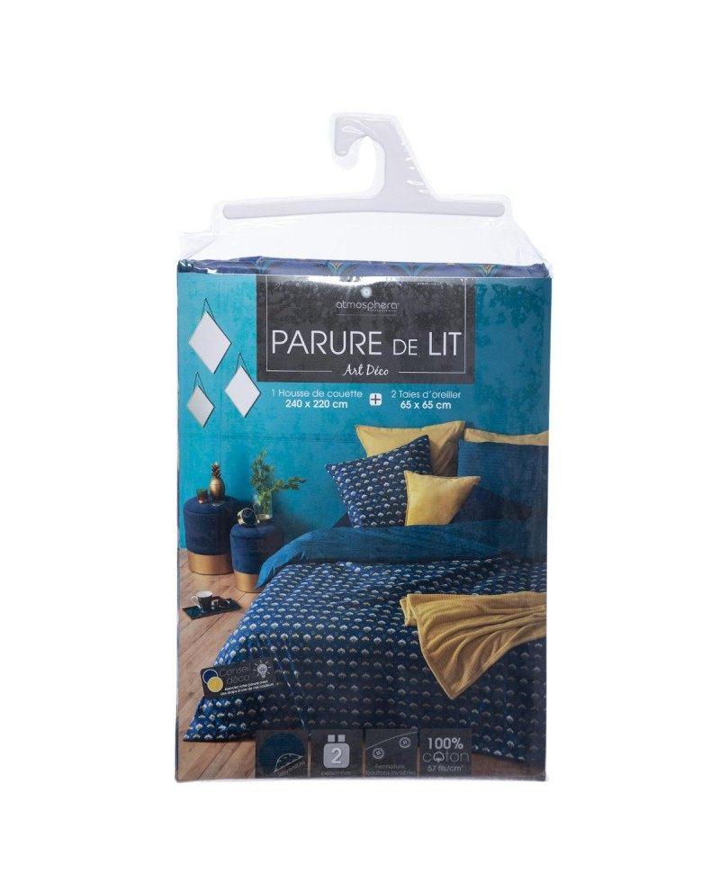 Parure De Lit 240×220 Inspiré Parure De Lit Imprimée Art Déco Bleue 240×220