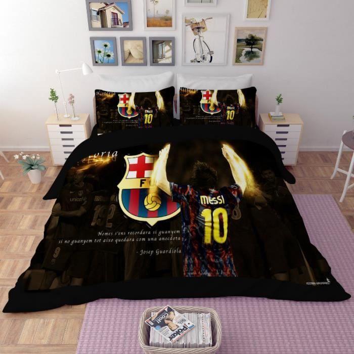 Parure De Lit 240×260 Douce Parure De Lit Football Fc Barcelona Messi 200 230 Cm 4 Pieces