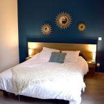 Parure De Lit Blanche Beau Chambre Parent Bleu Tete De Lit Miroir soleil Accumulation Miroir