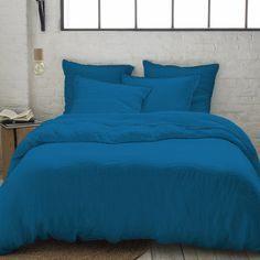 Parure De Lit Bleu Canard Luxe Parure En Lin Lavé Bleu Lagon