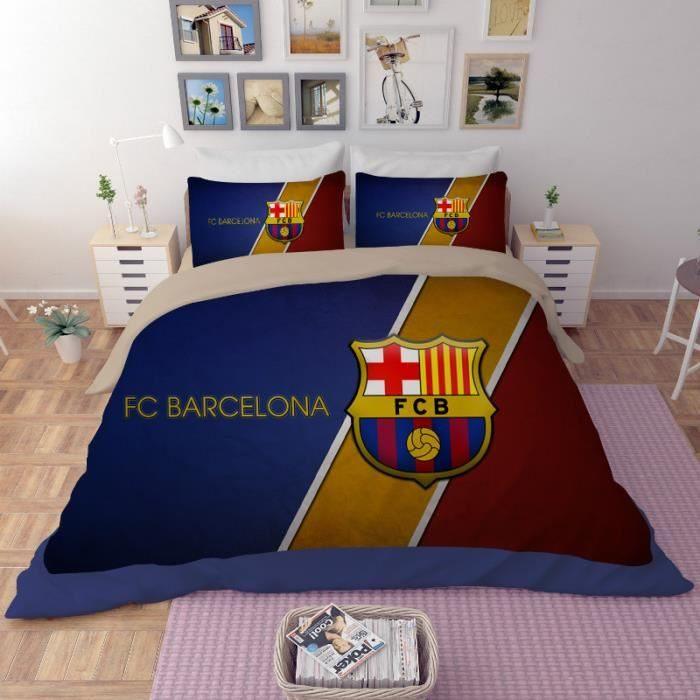 Parure De Lit Disney 220×240 Joli Parure De Lit Football Fc Barcelona 200 230 Cm 4 Pieces Achat