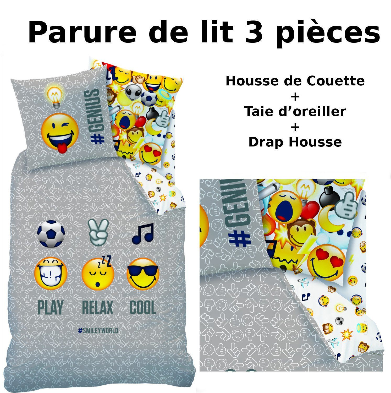 Parure De Lit Fille 90×190 Douce Emoji Emoticons Parure De Lit 3pcs Housse De Couette 140×200