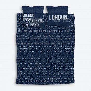 Parure de lit London adulte coton World City Marine Gris