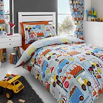 Happy Linen Co Parure de lit Enfant Motifs pelleteuses camions