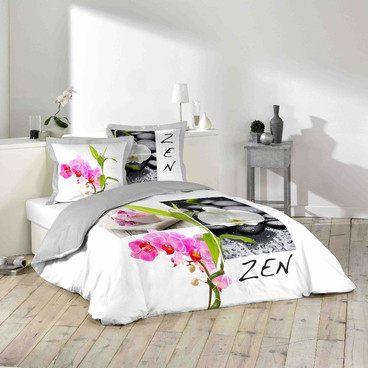 Parure De Lit Gifi Douce Housse De Couette Gifi Frais Parure Lit 2 Places Zen orchidée Galet