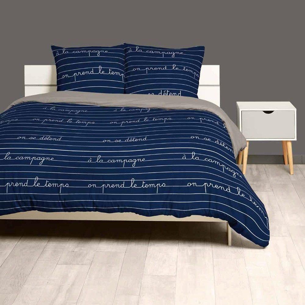 Parure De Lit King Size De Luxe Parure De Lit 2 Places Bleue Inscription Détente Campagne