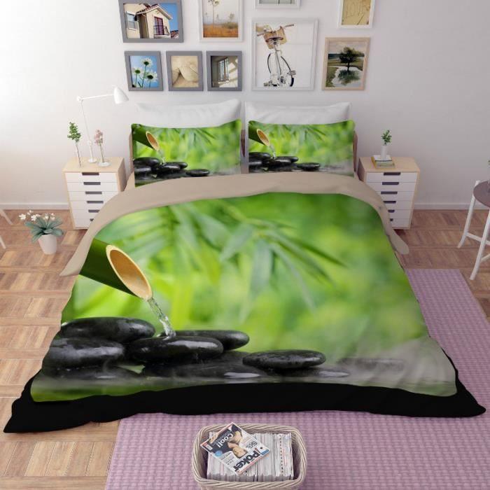 Parure De Lit King Size Luxe Parure De Lit Zen 3d Bambou Galet Et Eau Achat Vente Parure De